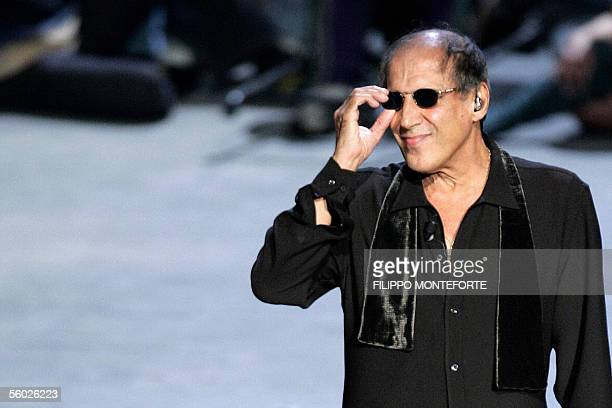 Italiqn rockstar and actor Adriano Celentano, hoster of National Television Channel satirical programme 'Rockpolitick'' 's during his perforlance on...