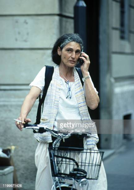 Milan, Italy, June 2000: Benedetta Barzini with bicycle.