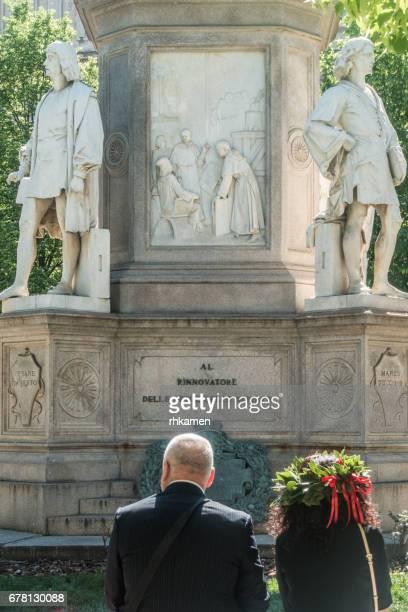 Milan, Italy. Leonardo statue, Piazza della Scala