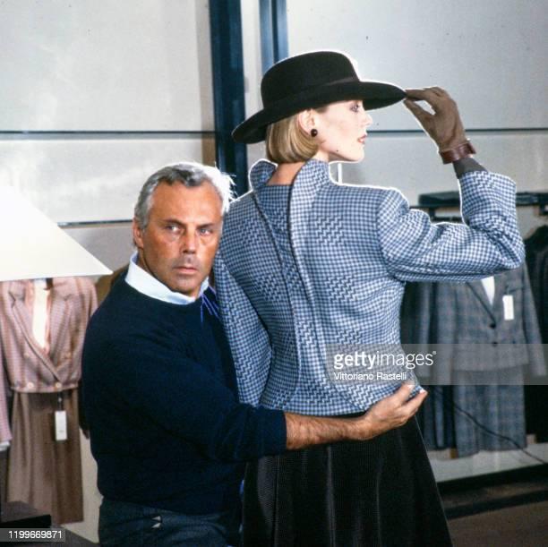 The designer Giorgio Armani during the preparation of his autumnwinter collection