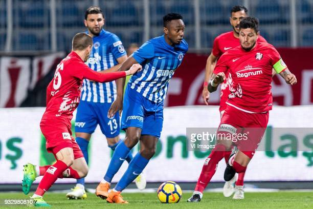 Milan Jevtovic of Antalyaspor AS BangalyFodé Koita of Kasimpasa AS Diego Ângelo de Oliveira of Antalyaspor AS during the Turkish Spor Toto Super Lig...