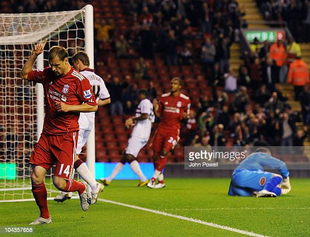 Milan Jovanovic of Liverpool celebrates his goal during the Carling Cup 3rd round game between Liverpool and Northampton Town at Anfield on September...