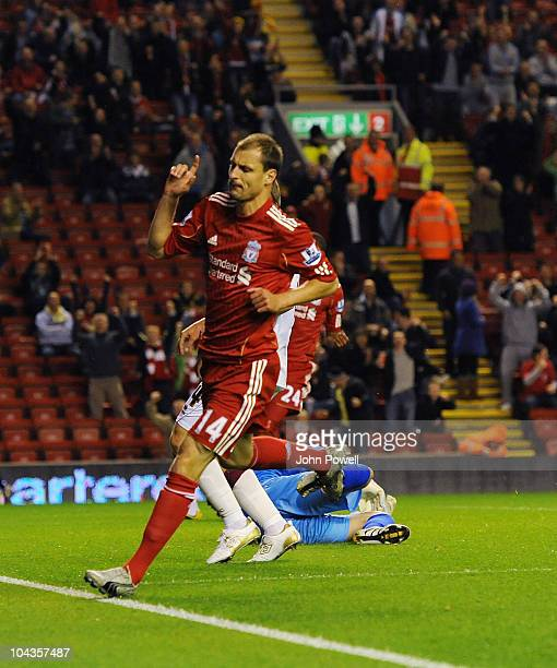 Milan Jovanovic of Liverpool celebrates his goal to make it 1-0 during the Carling Cup 3rd round game between Liverpool and Northampton Town at...