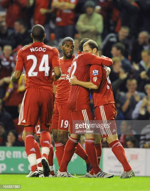 Milan Jovanovic of Liverpool celebrates scoring the first goal during the Carling Cup 3rd round game between Liverpool and Northampton Town at...