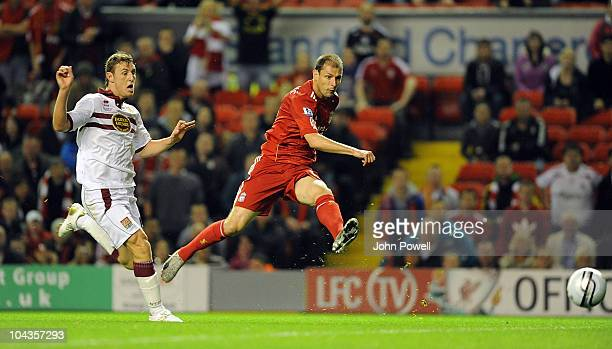 Milan Jovanovic of Liverpool scores the first goal during the Carling Cup 3rd round game between Liverpool and Northampton Town at Anfield on...