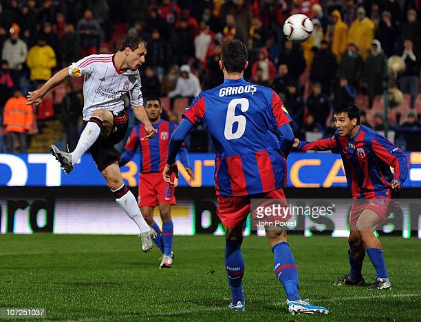 Milan Jovanovic of Liverpool scores the opening goal for Liverpool during the UEFA Europa League Group K Match between Steaua Bucharest and...