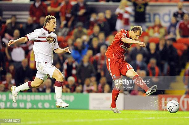 Milan Jovanovic of Liverpool tries a shot during the Carling Cup 3rd round game between Liverpool and Northampton Town at Anfield on September 22,...
