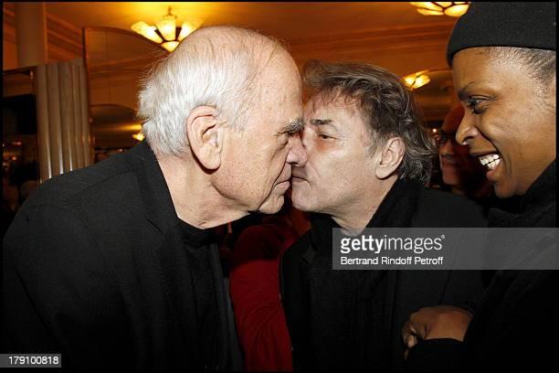 Milan Kundera Yves Simon at The 20th Anniversary Of La Regle Du Jeu Celebrated At The Cafe De Flore In Paris