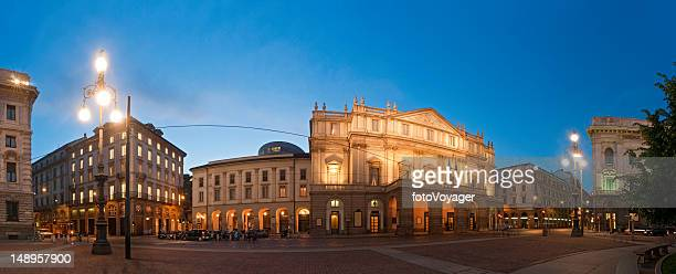 milan la scala opera house piazza italy - la scala theatre stock pictures, royalty-free photos & images