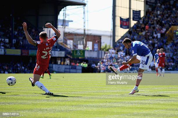 Milan Lalkovic of Portsmouth shoots during the Sky Bet League Two match between Portsmouth and Carlisle United at Fratton Park on August 6 2016 in...