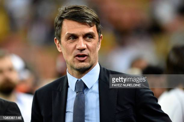 Milan legend Paolo Maldini is seen during the Supercoppa Italiana final between Juventus and AC Milan at the King Abdullah Sports City Stadium in...