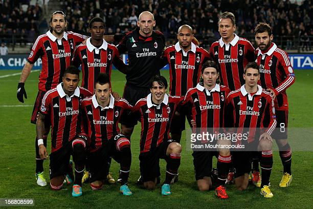 Milan line up prior to the UEFA Champions League Group C match between RSC Anderlecht and AC Milan at the Constant Vanden Stock Stadium on November...
