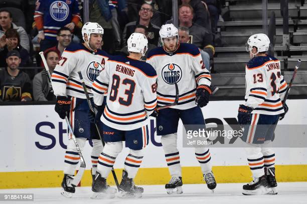 Milan Lucic Matthew Benning Leon Draisaitl and Michael Cammalleri of the Edmonton Oilers celebrate after scoring a goal against the Vegas Golden...