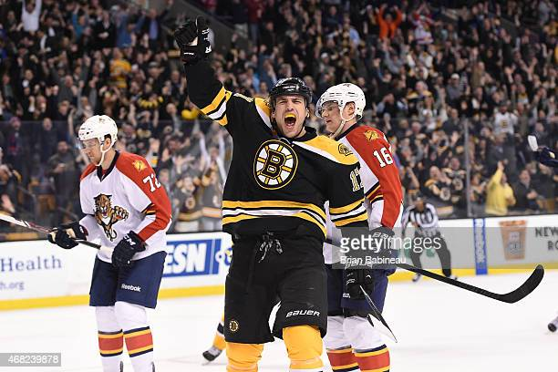 Milan Lucic of the Boston Bruins celebrates a goal against the Florida Panthers at the TD Garden on March 31 2015 in Boston Massachusetts