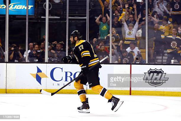 Milan Lucic of the Boston Bruins celebrates after scoring a goal in the second period against the Chicago Blackhawks in Game Four of the 2013 NHL...