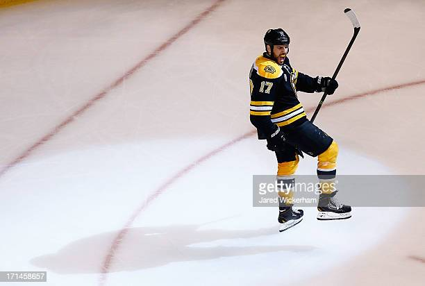 Milan Lucic of the Boston Bruins celebrates after scoring a goal in the third period against the Chicago Blackhawks during Game Six of the Stanley...
