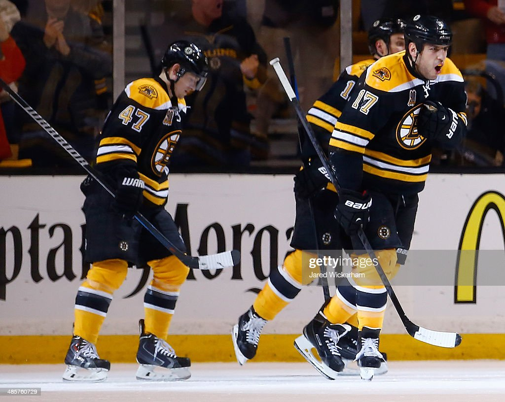Milan Lucic #17 of the Boston Bruins celebrates his goal in the second period against the Detroit Red Wings during the game at TD Garden on April 20, 2014 in Boston, Massachusetts.