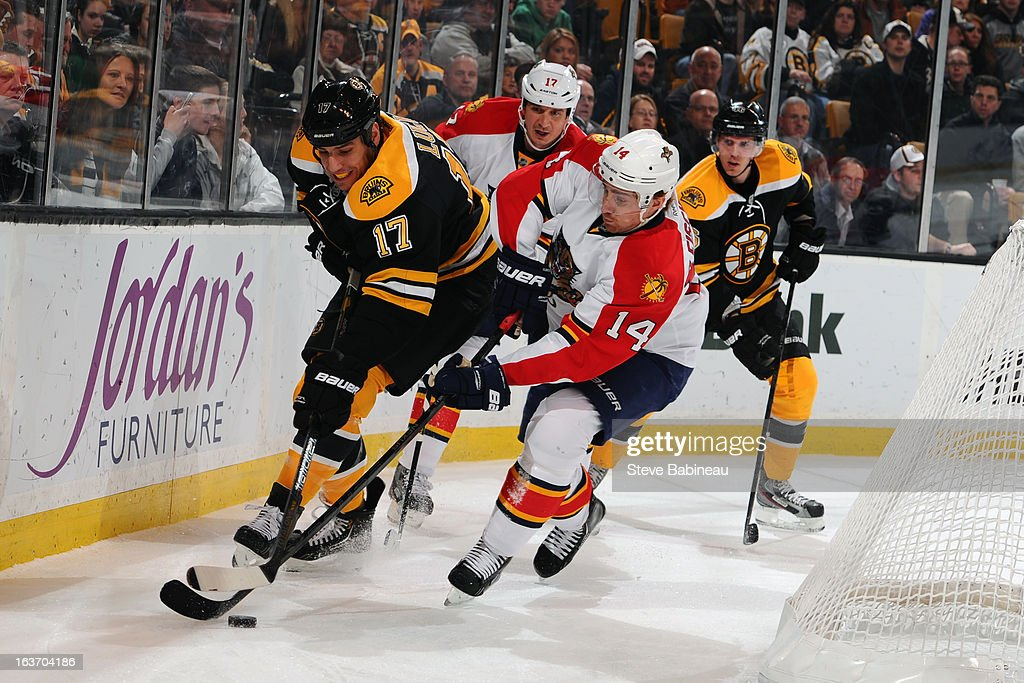 Milan Lucic #17 of the Boston Bruins fights for the puck against Tomas Fleishmann #14 of the Florida Panthers at the TD Garden on March 14, 2013 in Boston, Massachusetts.