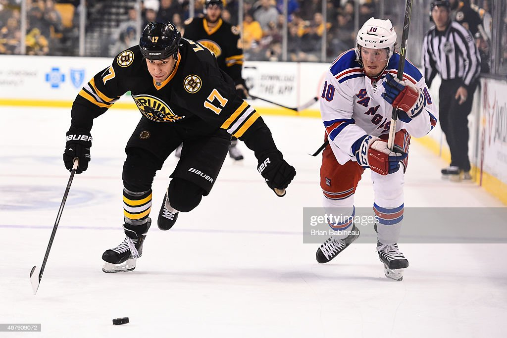 Milan Lucic #17 of the Boston Bruins skates after the puck against J.T. Miller #10 of the New York Rangers at the TD Garden on March 28, 2015 in Boston, Massachusetts.