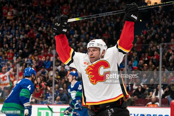 Milan Lucic of the Calgary Flames celebrates after scoring a goal against the Vancouver Canucks during NHL action at Rogers Arena on February 8, 2020...