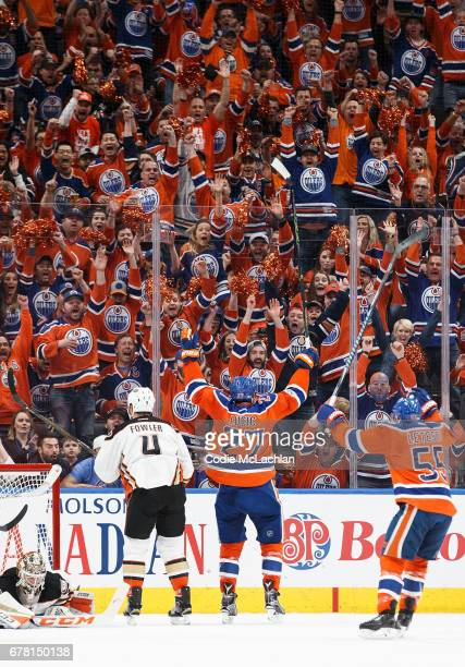 Milan Lucic of the Edmonton Oilers celebrates a goal against the Anaheim Ducks in Game Four of the Western Conference Second Round during the 2017...