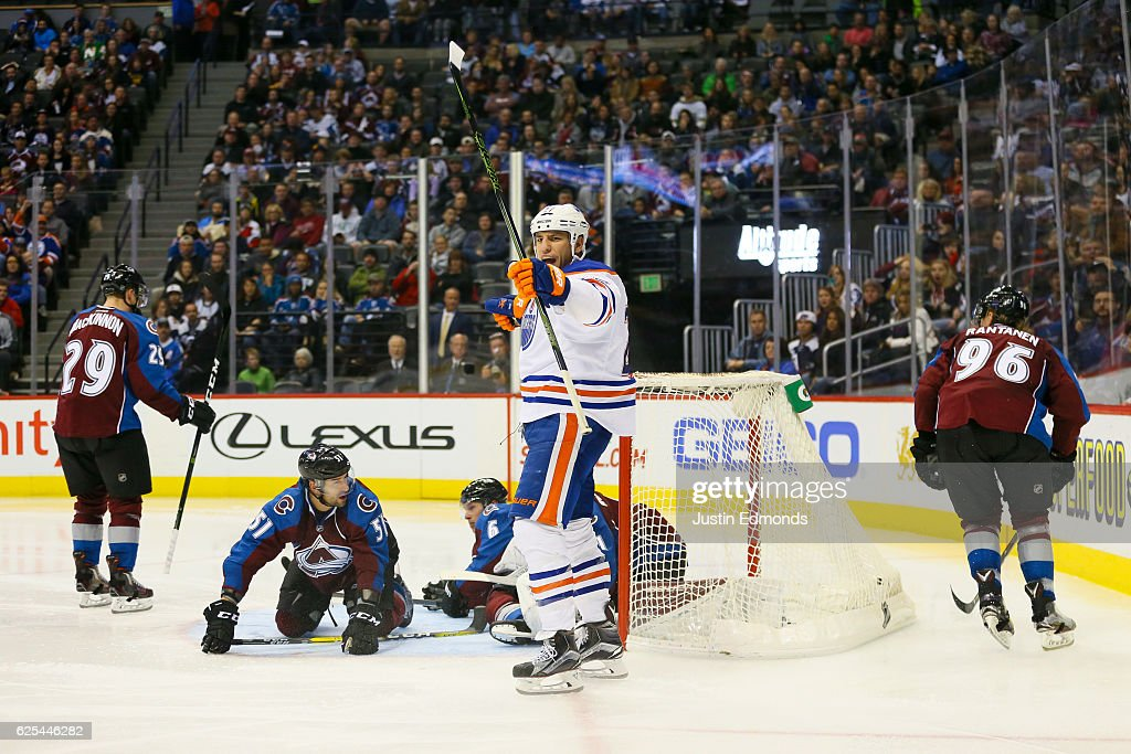 Milan Lucic #27 of the Edmonton Oilers celebrates his goal against the Colorado Avalanche during the third period at Pepsi Center on November 23, 2016 in Denver, Colorado. The Oilers defeated the Avalanche 6-3.