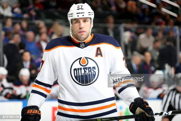 Milan Lucic of the Edmonton Oilers looks on against the New York Rangers at Madison Square Garden on November 11 2017 in New York City The New York...