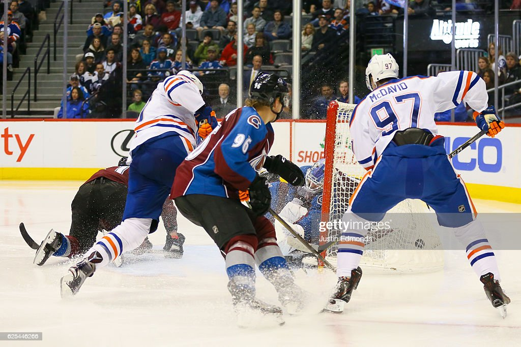 Milan Lucic #27 of the Edmonton Oilers scores past Semyon Varlamov #1 of the Colorado Avalanche as Mikko Rantanen #96 and Connor McDavid #97 look on during the third period at Pepsi Center on November 23, 2016 in Denver, Colorado. The Oilers defeated the Avalanche 6-3.
