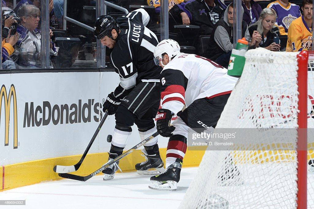 Milan Lucic #17 of the Los Angeles Kings handles the puck during a game at STAPLES Center on September 22, 2015 in Los Angeles, California.