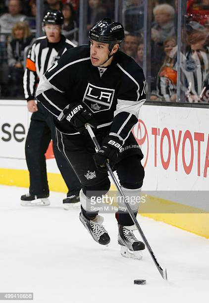 Milan Lucic of the Los Angeles Kings skates with the puck during a game against the Chicago Blackhawks at Staples Center on November 28 2015 in Los...