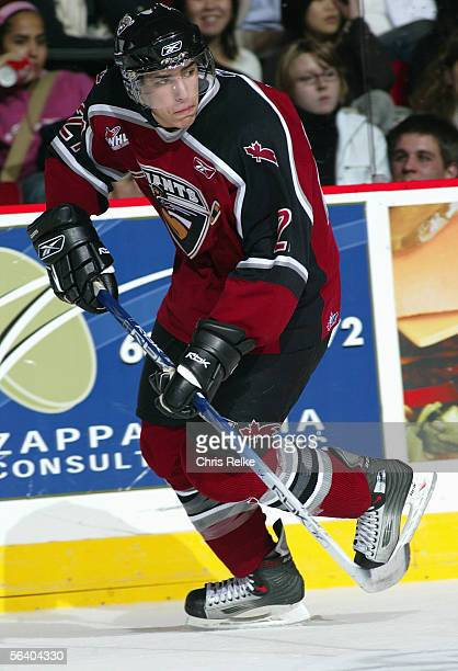 Milan Lucic of the Vancouver Giants skates against the Tri-City Americans during their WHL game on October 26, 2005 at the Pacific Coliseum in...