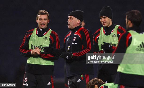 AC Milan Manager Carlo Ancelotti with Andriy Shevchenko and Kaka during a training session at Fratton Park Portsmouth