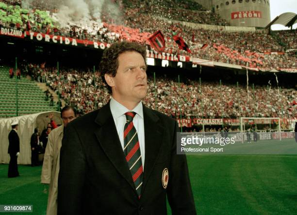 Milan manager Fabio Capello walks to the dugout before the Serie A match between AC Milan and Fiorentina at the San Siro on April 28 1996 in Milan...