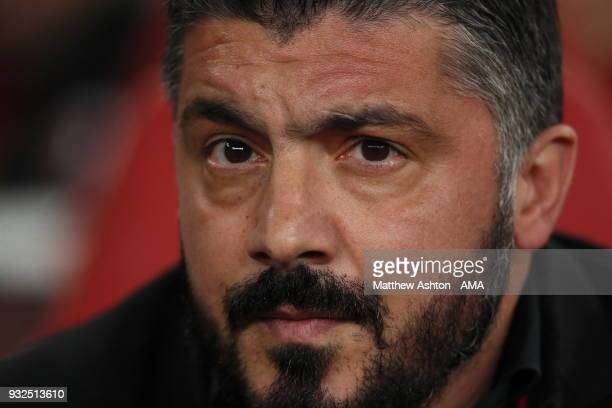 Milan manager Gennaro Gattuso during the UEFA Europa League Round of 16 Second Leg match between Arsenal and AC Milan at Emirates Stadium on March 15...