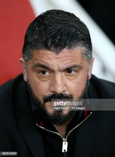 AC Milan manager Gennaro Gattuso during the UEFA Europa League round of 16 second leg match at the Emirates Stadium London