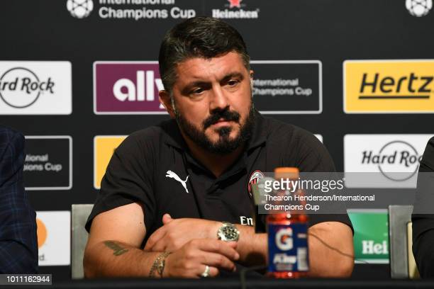 Milan manager Gennaro Gattuso speaks after their 10 win against FC Barcelona during the International Champions Cup match at Levi's Stadium on August...