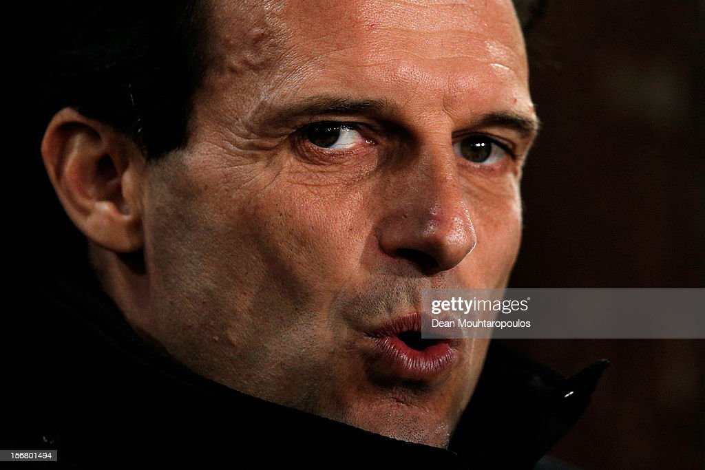AC Milan Manager, Massimiliano Allegri looks on during the UEFA Champions League Group C match between RSC Anderlecht and AC Milan at the Constant Vanden Stock Stadium on November 21, 2012 in Anderlecht, Belgium.