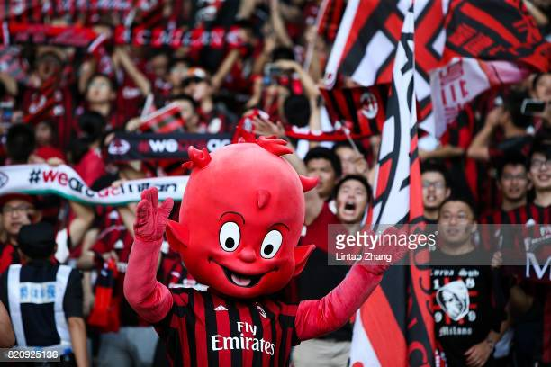 Milan mascot 'Milanello' cheers with fans during the 2017 International Champions Cup China match between FC Bayern and AC Milan at Universiade...