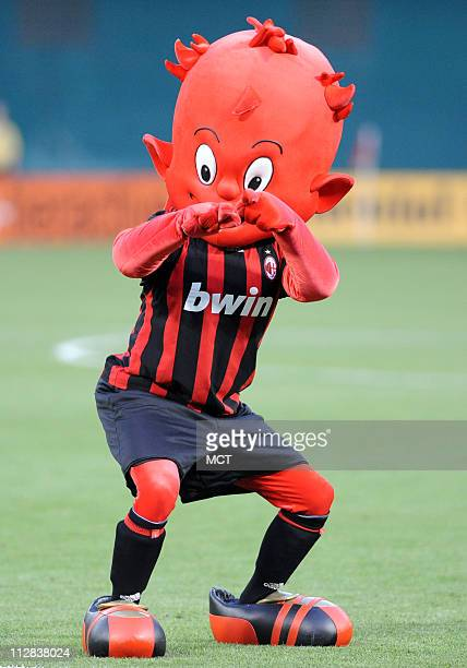 AC Milan mascot 'Milanello' takes part in prematch activities before the friendly between AC Milan and DC United and at RFK Stadium in Washington DC...