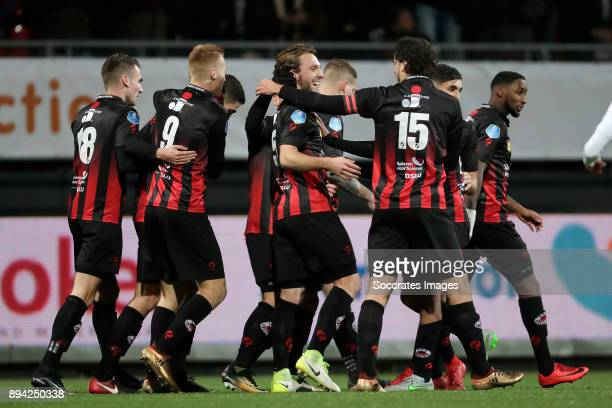 Milan Massop of Excelsior celebrates 10 with Kevin Vermeulen of Excelsior Mike van Duinen of Excelsior Jurgen Mattheij of Excelsior Jeffry Fortes of...