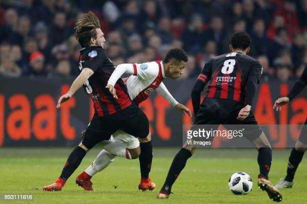 Milan Massop of Excelsior David Neres of Ajax during the Dutch Eredivisie match between Ajax Amsterdam and sbv Excelsior at the Amsterdam Arena on...