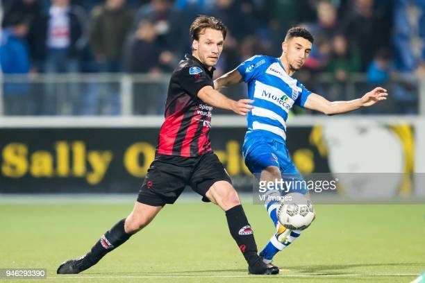 Milan Massop of sbv Excelsior Younes Namli of PEC Zwolle during the Dutch Eredivisie match between PEC Zwolle and sbv Excelsior Rotterdam at the...