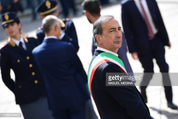 Milan mayor Giuseppe Sala waits for the arrival of Italy's President to attend the 100th anniversary of the Italian Banking Association on July 12,...