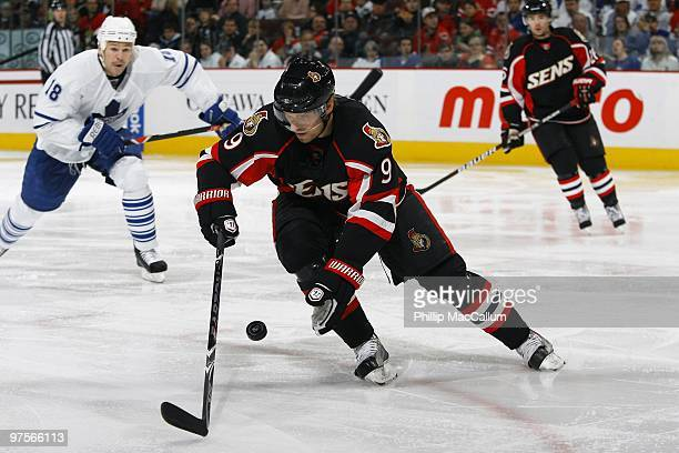Milan Michalek of the Ottawa Senators skates with the puck against the Toronto Maple Leafs in a game at Scotiabank Place on March 6 2010 in Ottawa...