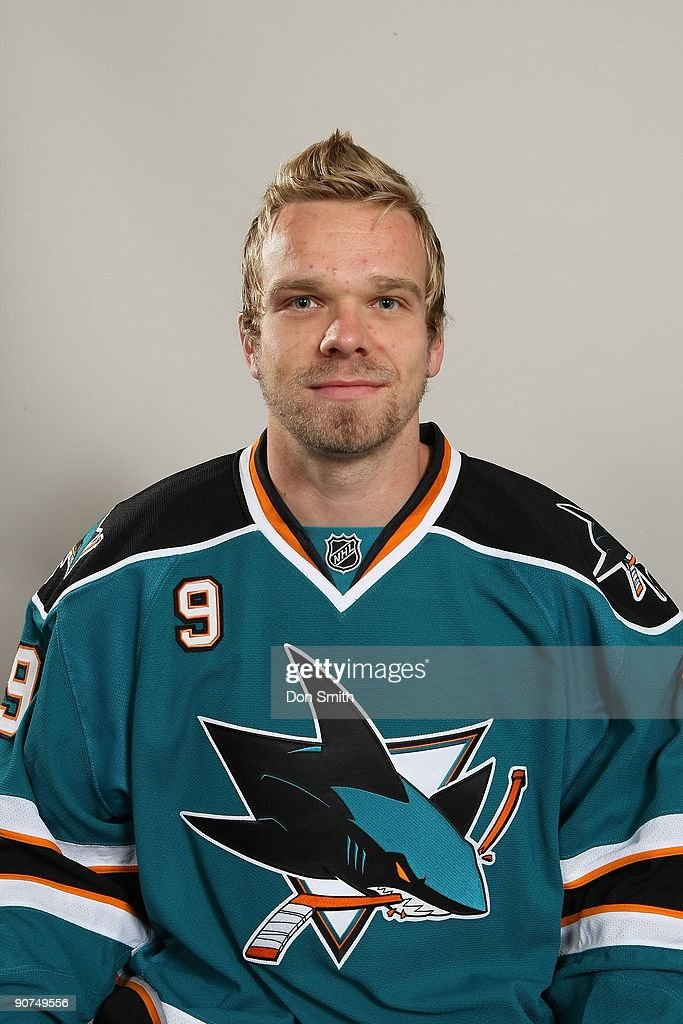 Milan Michalek of the San Jose Sharks poses for his ...