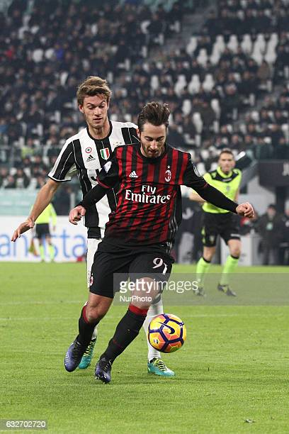 Milan midfielder Andrea Bertolacci in action during the Coppa Italia quarter finals football match JUVENTUS MILAN on at the Juventus Stadium in Turin...
