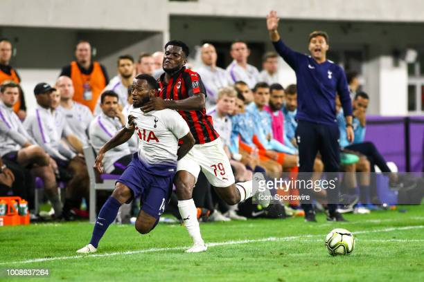 Milan midfielder Franck Kessie , right, collides with Tottenham Hotspur midfielder Georges-Kévin Nkoudou during the International Champions Cup match...