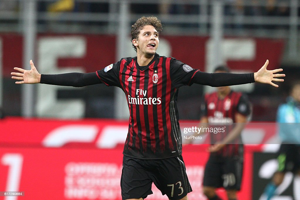 Milan midfielder Manuel Locatelli (73) celebrates after scoring his goal during the Serie A football match n.9 MILAN - JUVENTUS on at the Stadio Giuseppe Meazza in Milan, Italy.