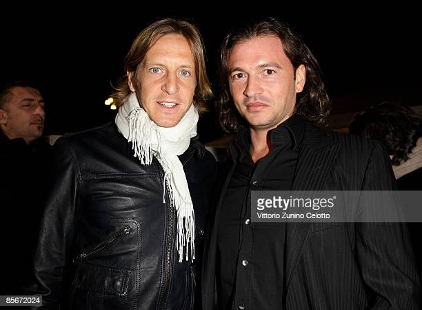 Milan Midfielder Massimo Ambrosini and Belstaff Vice President Manuele Malenotti attend the Audi A3 Cabriolet Style by Belstaff Launch Event on March...