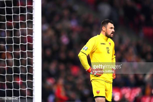 Milan Mijatovic of Montenegro reacts during the UEFA Euro 2020 qualifier between England and Montenegro at Wembley Stadium on November 14, 2019 in...